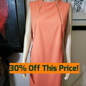 Calvin Klein Orange Zipper Dress